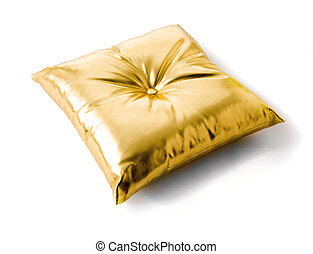 Golden metallized leather cushion isolated on white...