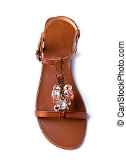 Carved colored crystals leather sandal isolated on white...