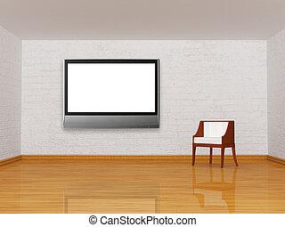 單獨, 白色, 椅子, 房間