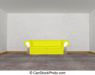 minimalist living room with yellow couch