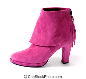 Pink suede high heel bootie with big hem isolated on white...