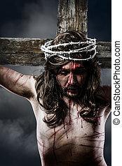 Jesús, Cristo, corona, Espinas, blanco, cruz, Calvary