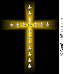 cross of candles - candles in the shape of a cross on a...