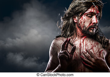 Jesus Christ with crown of thorns white on the cross, Easter...