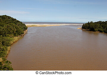 River Mouth into Sea on Sunny Day - Picture of Wide River...
