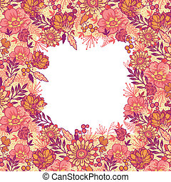 Fall flowers frame seamless pattern background border -...