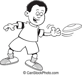 Cartoon boy throwing a flying disc - Black and white...