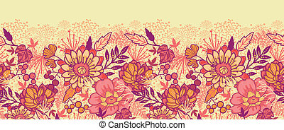 Fall flowers horizontal seamless pattern background border -...
