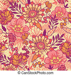 Fall flowers seamless pattern background - Vector gold and...