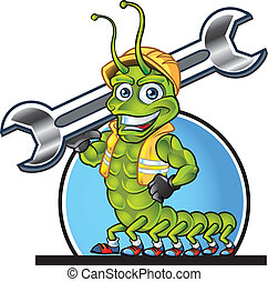 Centipede Mascot - Centipede Construction Worker Mascot for...