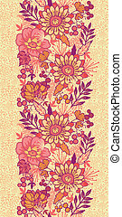 Fall flowers vertical seamless pattern background border -...