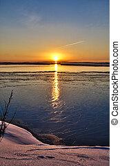 Seashore at winter - Evening seashore at winter