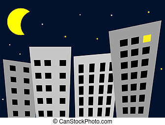 Night in the city - vector
