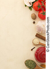 food ingredients and paper - food ingredients and spices on...