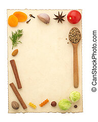 food ingredients and recipe paper on white background