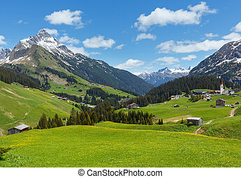 Alpine view (Vorarlberg,Austria) - Summer mountain view to...