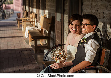 Smiling Bride with Partner