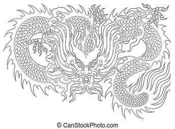 dragon painting chinese style on white background from...