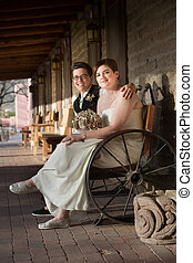 Happy Couple on Bench - Happy same sex couple in wedding on...