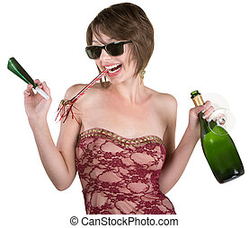 Party Girl with Wine and Kazoo - Female party girl with...