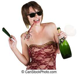 Party Girl with Wine Bottle - Happy lady with wine and party...