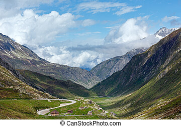 Summer Alps mountain pass - Summer Alps mountain view from...