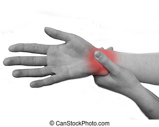 Woman suffering pain - womans hand suffering pain