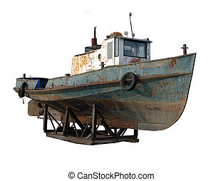 VINTAGE TUG BOAT - old rusty tug boat stranded, isolated