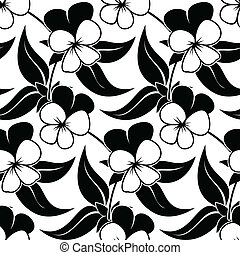 pansy floral black isolated seamless background - pansy...