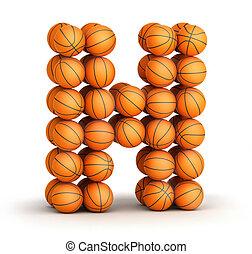 Letter H basketball - Letter H from basketball balls...