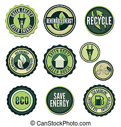 Geen technology - Set of labels and elements for green...