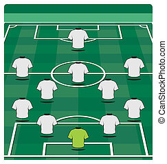 Soccer field layout with formation