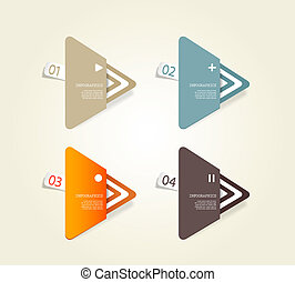 Four colored paper triangles with place for your own text