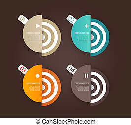 Four colored paper circles with place for your own text.