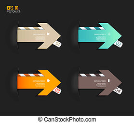 Four colored paper arrows with place for your own text
