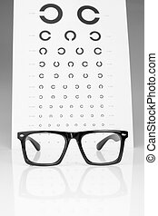Table Golovin and glasses eye examination On a gray...