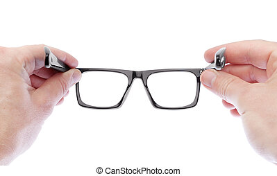 A man wearing glasses to improve vision. On a white...