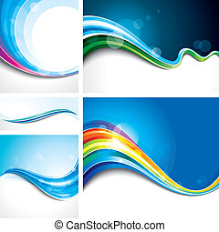 Wave Background set - Collection of abstract wave design...