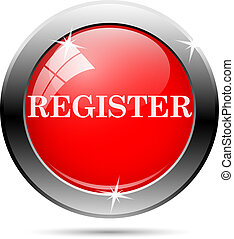 register icon with white writing on red background