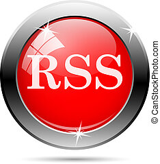 rss icon with white writing on red background