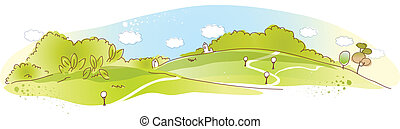 Rural scene - This illustration is a common natural...