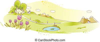 Rural scene with pond - This illustration is a common...