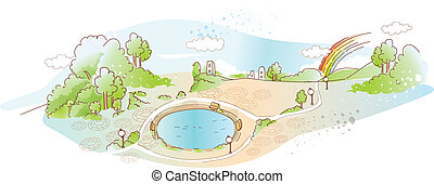 park with pool - This illustration is a common natural...