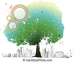 City skyline and large tree - This illustration is a common...