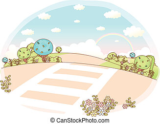 Rolling Landscape with crosswalk - This illustration is a...