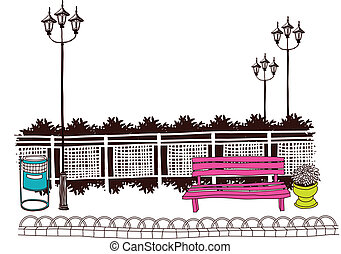 Bench at Park - This illustration is a common natural...
