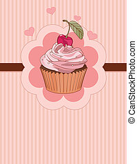 Beautiful cupcake place card - Beautiful cupcake with cherry...