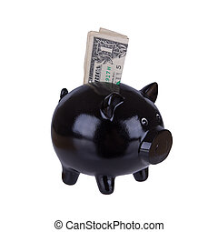 Piggy bank with one dollar bill
