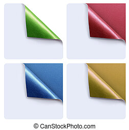 papers with a curl - Collection of colorful papers with a...