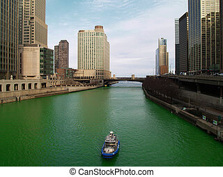 Chicago River on Saint Patric\\\'s Day - Amazing view from...